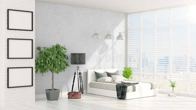 Modern bright interior . 3D rendering stock illustration