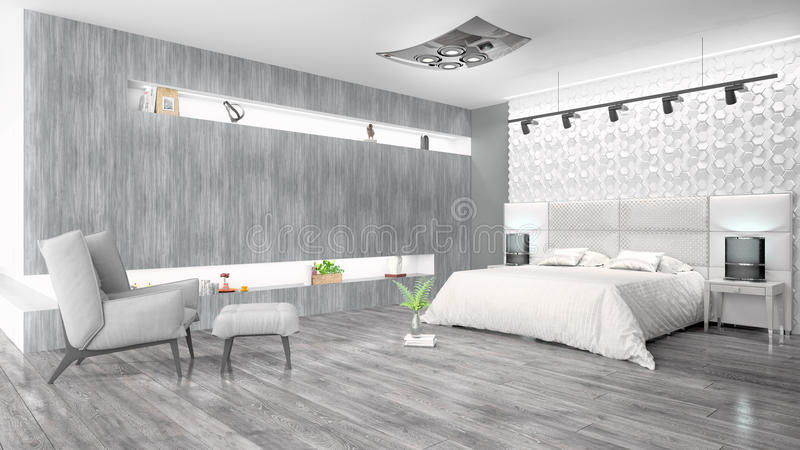 Modern bright interior . 3D rendering. Beautiful modern interior with bed. 3D rendering royalty free illustration