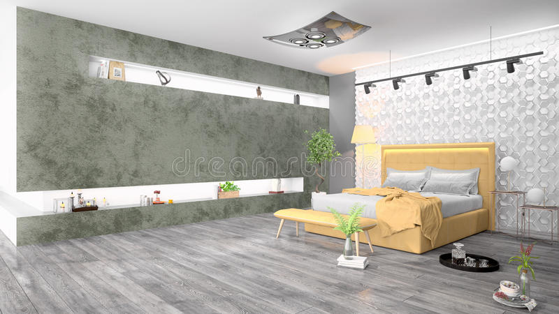 Modern bright interior . 3D rendering. Beautiful modern interior with bed. 3D rendering vector illustration