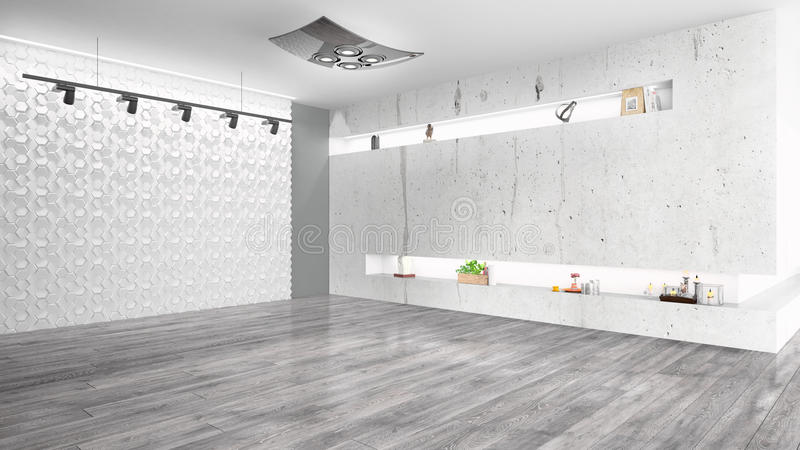 Modern bright interior . 3D rendering. Beautiful modern empty interior with open space. 3D rendering vector illustration
