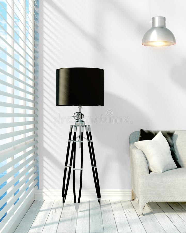 Modern bright interior . 3D rendering. Beautiful modern interior with lamp. 3D rendering royalty free illustration