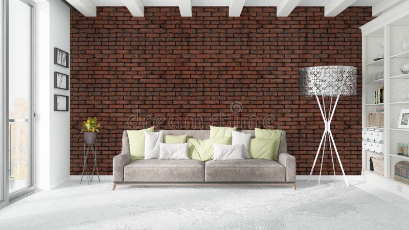 Modern bright interior . 3D rendering. Beautiful modern living room interior with sofa. 3D rendering vector illustration