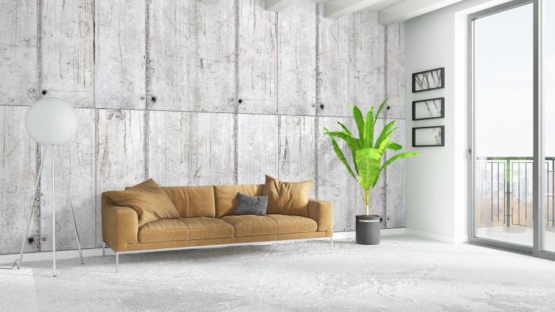 Modern bright interior . 3D rendering. Beautiful modern living room interior with sofa. 3D rendering royalty free illustration