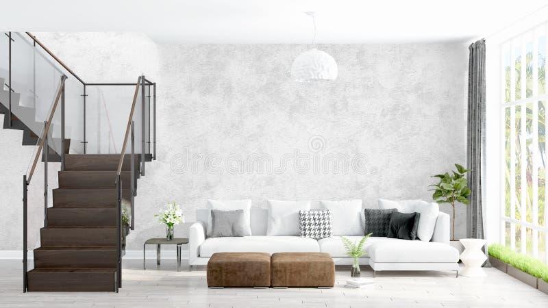 Modern bright interior . 3D rendering vector illustration