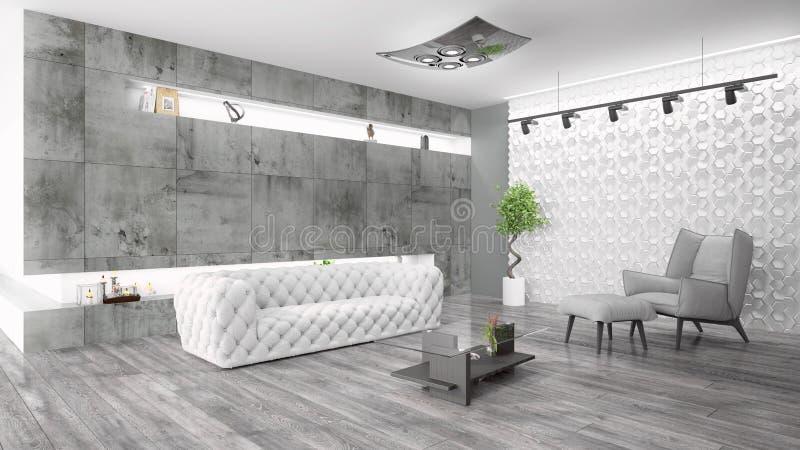 Modern bright interior . 3D rendering. Beautiful modern interior with sofa. 3D rendering vector illustration