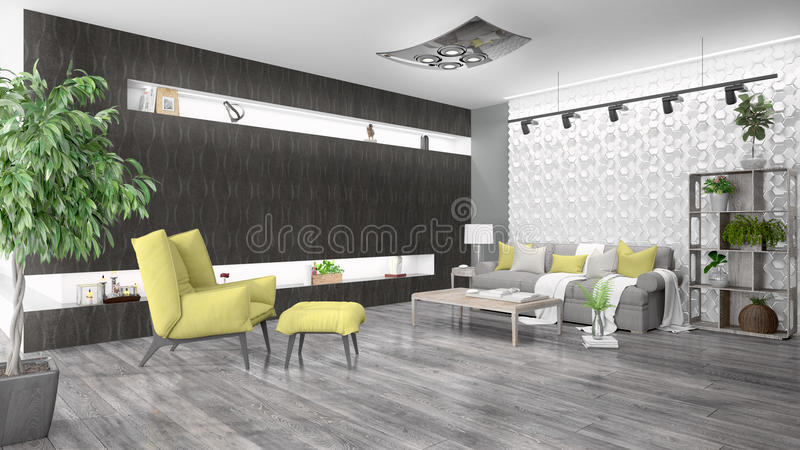 Modern bright interior . 3D rendering. Beautiful modern interior with sofa. 3D rendering vector illustration