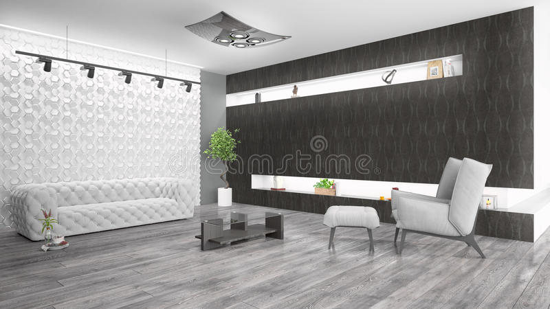 Modern bright interior . 3D rendering. Beautiful modern interior with sofa. 3D rendering stock illustration