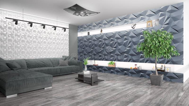 Modern bright interior . 3D rendering. Beautiful modern interior with sofa. 3D rendering stock illustration