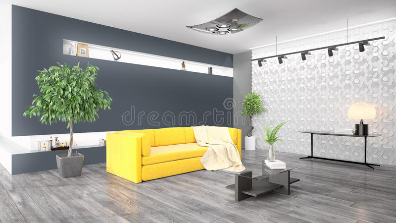 Modern bright interior . 3D rendering. Beautiful modern interior with sofa. 3D rendering royalty free illustration