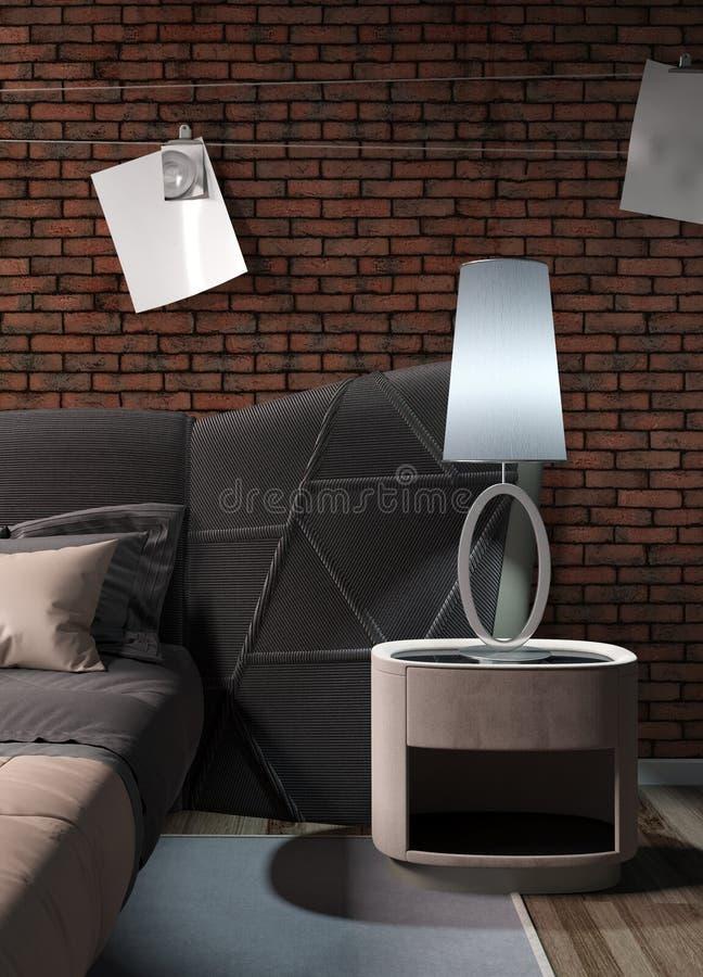 Modern bright interior . 3D rendering. Stylish modern interior with bed. 3D rendering vector illustration