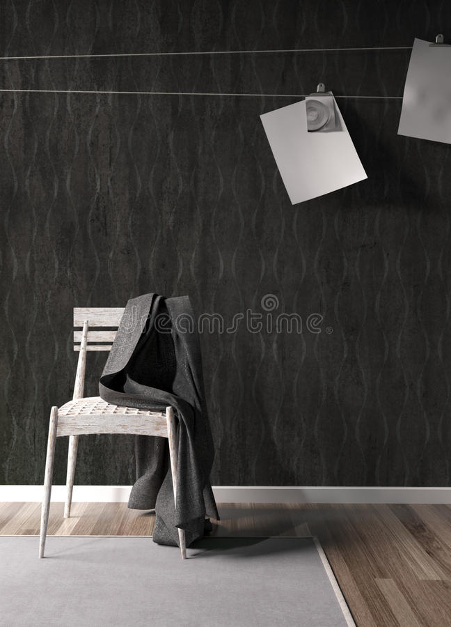 Modern bright interior . 3D rendering. Stylish modern interior with chair. 3D rendering royalty free illustration