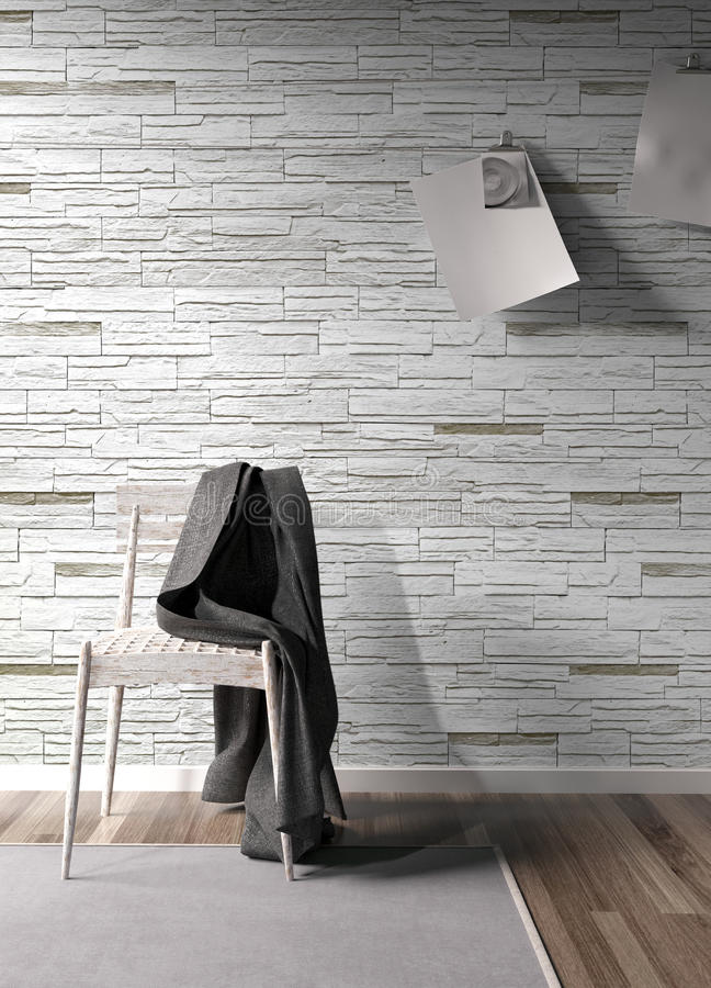 Modern bright interior . 3D rendering. Stylish modern interior with chair. 3D rendering stock illustration