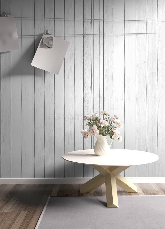 Modern bright interior . 3D rendering. Stylish modern interior with flowers. 3D rendering stock illustration