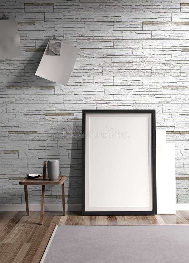 Modern bright interior . 3D rendering. Stylish modern interior with frame. 3D rendering stock illustration