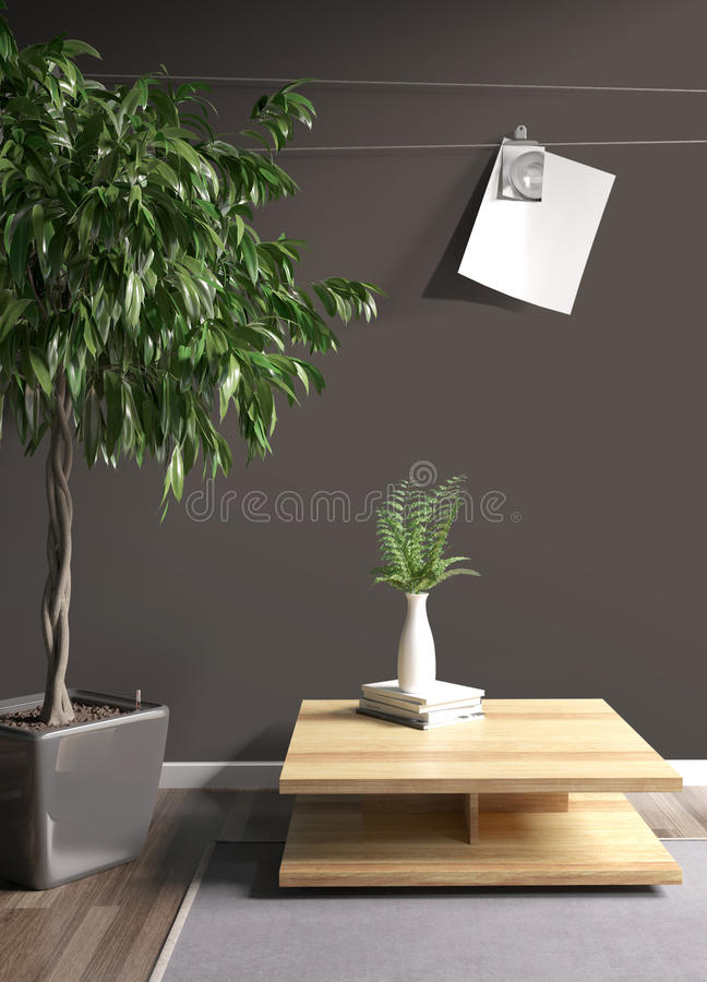 Modern bright interior . 3D rendering. Stylish modern interior with plant. 3D rendering royalty free illustration