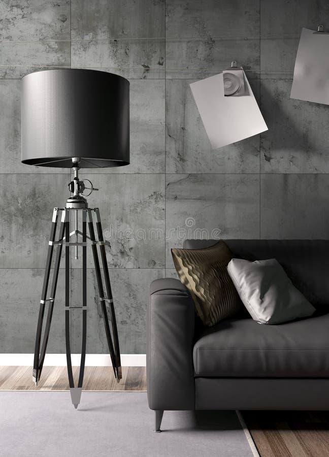 Modern bright interior . 3D rendering. Stylish modern interior with sofa. 3D rendering royalty free illustration