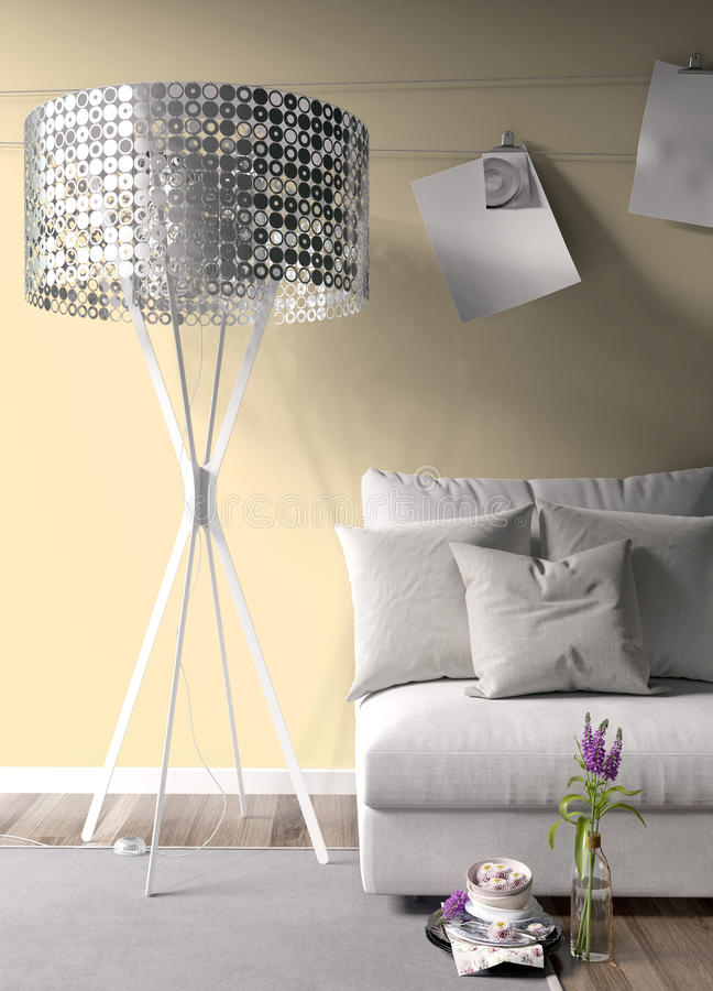 Modern bright interior . 3D rendering. Stylish modern interior with sofa. 3D rendering vector illustration