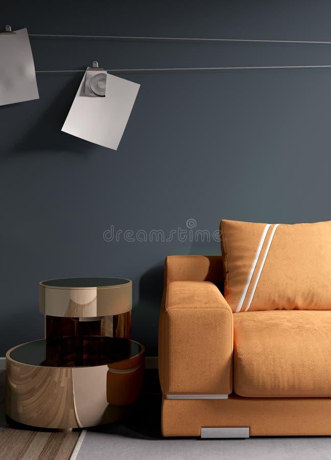 Modern bright interior . 3D rendering. Stylish modern interior with sofa. 3D rendering stock illustration