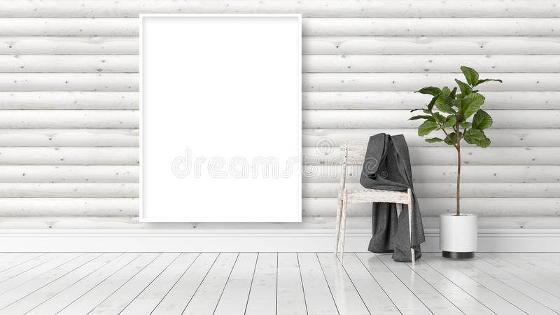 Modern bright interior with empty frame . 3D rendering. Beautiful living room interior with mock up poster frame. 3D rendering vector illustration