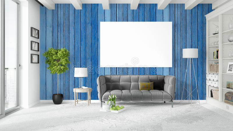 Modern bright interior with empty frame . 3D rendering vector illustration
