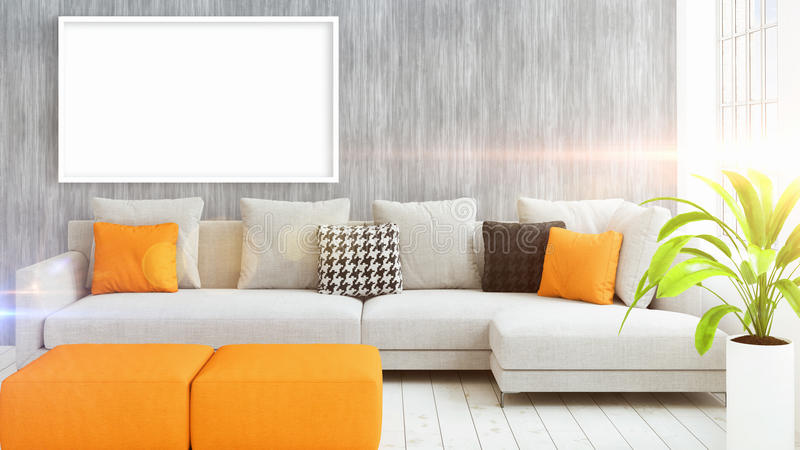 interior beautiful living room concept. Delighful Interior Download Modern Bright Interior With Empty Frame  3D Rendering Stock  Illustration  Of Mockup Intended Beautiful Living Room Concept V