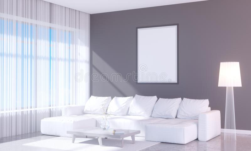 Modern bright interior with empty frame . 3D rendering 3D illustration room, scandinavian, sofa, space, up, wall, white vector illustration