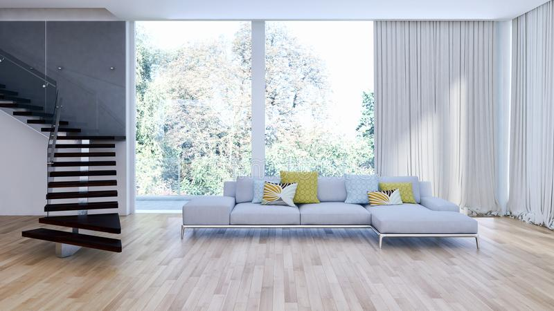 Modern bright interiors apartment 3D rendering illustration. Room with windows stock image