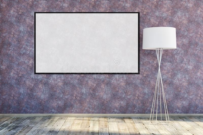 Modern bright interiors apartment with mock up poster frame illustration 3D rendering computer generated image royalty free stock photo