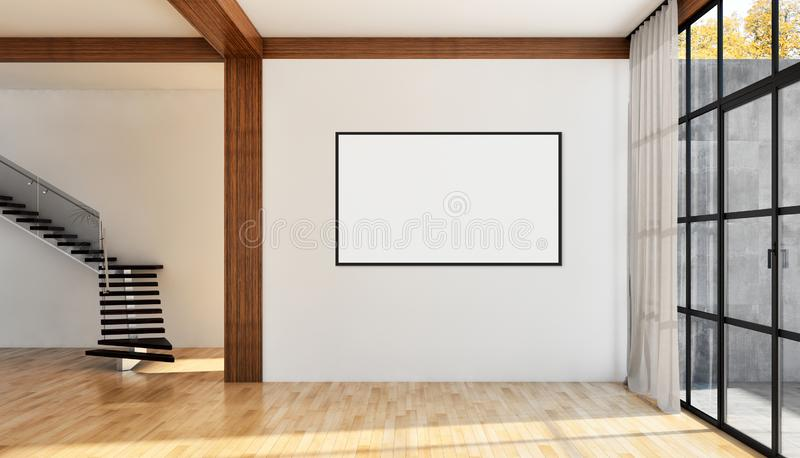 Modern bright interiors apartment with mock up poster frame illustration 3D rendering computer generated image royalty free stock images