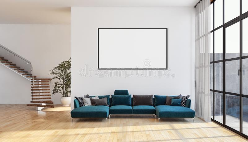 Modern bright interiors apartment with mock up poster frame illustration 3D rendering computer generated image stock photography