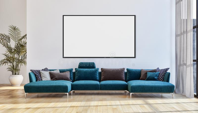 Modern bright interiors apartment with mock up poster frame illustration 3D rendering computer generated image royalty free stock photography