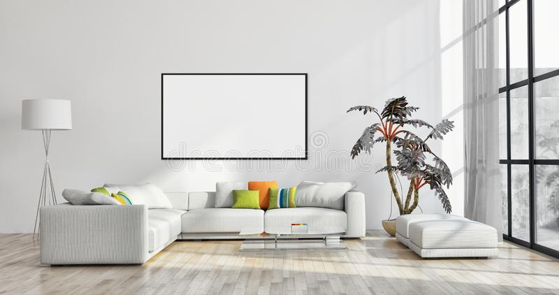 Modern bright interiors apartment with mock up poster frame illustration 3D rendering computer generated image. Large luxury modern bright interiors apartment royalty free stock images
