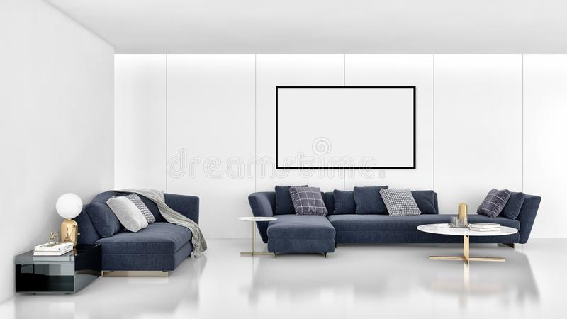 Modern bright interiors apartment with mock up poster frame illustration 3D rendering computer generated image. Large luxury modern bright interiors apartment stock image