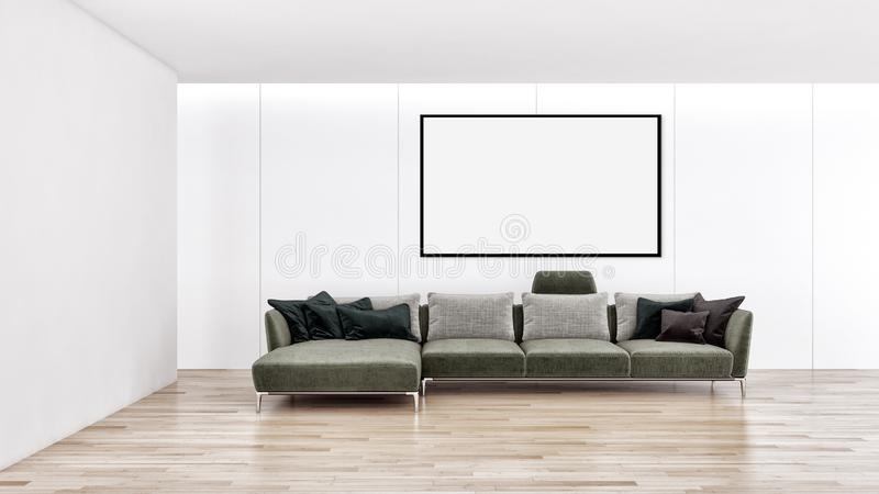 Modern bright interiors apartment with mock up poster frame illustration 3D rendering computer generated image. Large luxury modern bright interiors apartment royalty free stock photo
