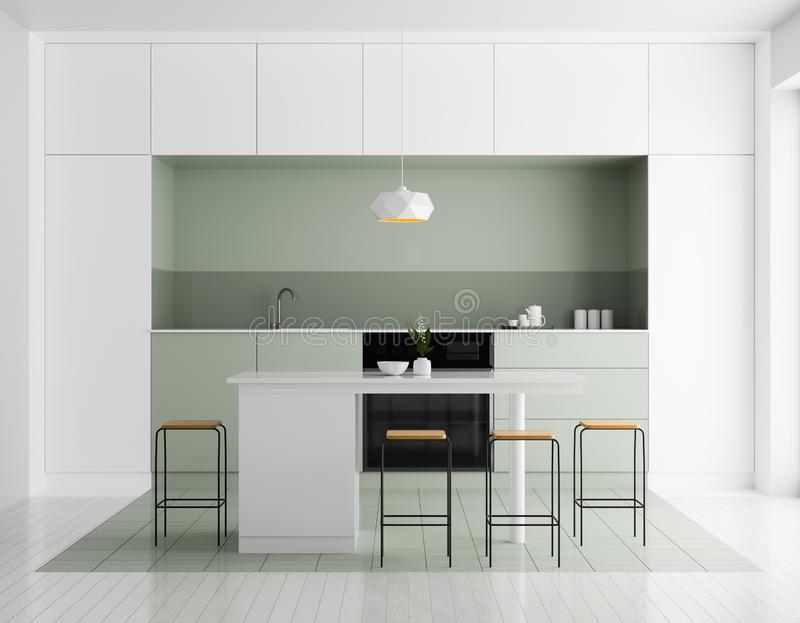 Modern bright kitchen interior. Minimalistic kitchen design with bar and stools. 3D illustration stock images