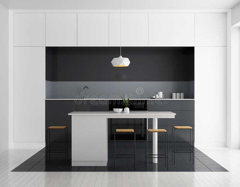 Modern bright kitchen interior. Minimalistic kitchen design with bar and stools. 3D illustration stock photography