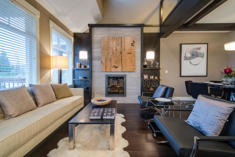 Modern bright living room with a fireplace royalty free stock photos