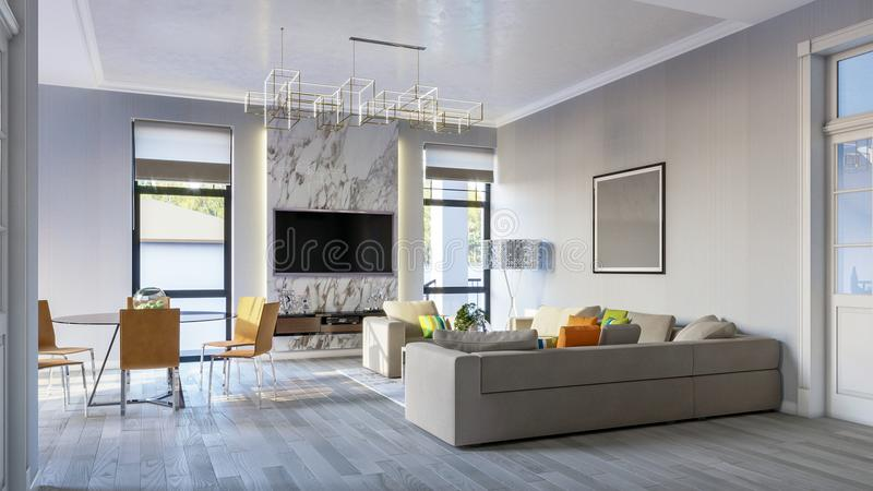 Modern bright living room in gray tones 3d Illustration stock image