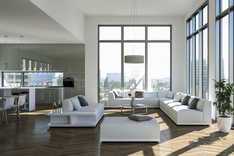 Modern bright loft with big Windows interior design royalty free illustration