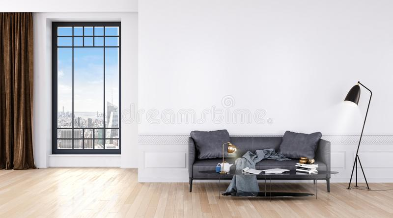 Modern bright room with big windows and sofa vector illustration