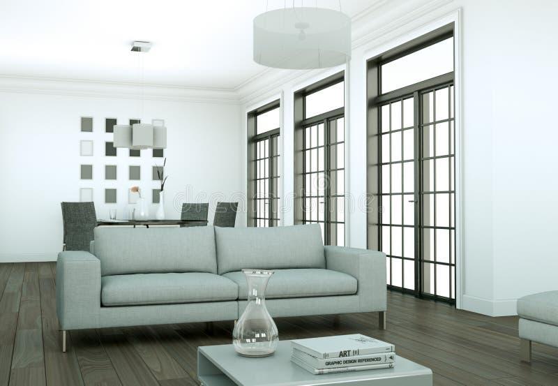 Modern bright skandinavian interior design appartment. 3d Illustration vector illustration