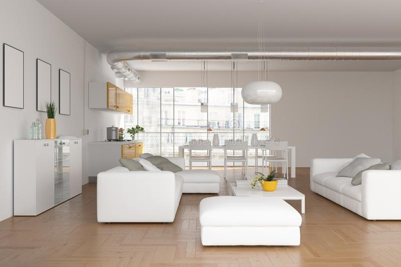 Modern bright skandinavian interior design living room stock photo