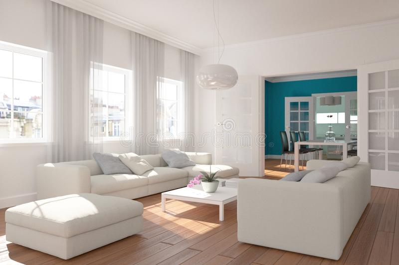 Modern bright skandinavian interior design living room stock images