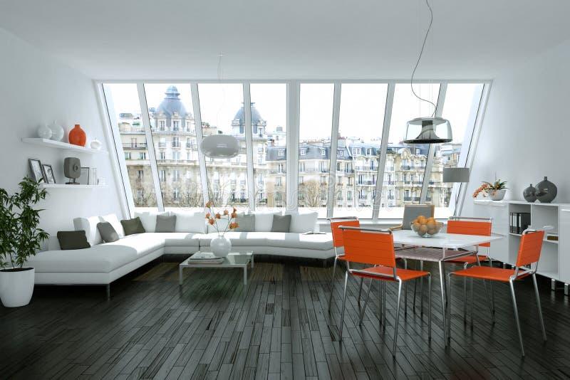 Modern bright skandinavian interior design with white sofa and orange chairs. 3d Illustration royalty free illustration