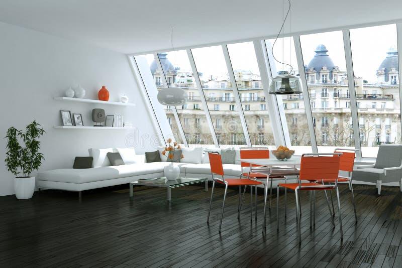 Modern bright skandinavian interior design with white sofa and orange chairs. 3d Illustration vector illustration