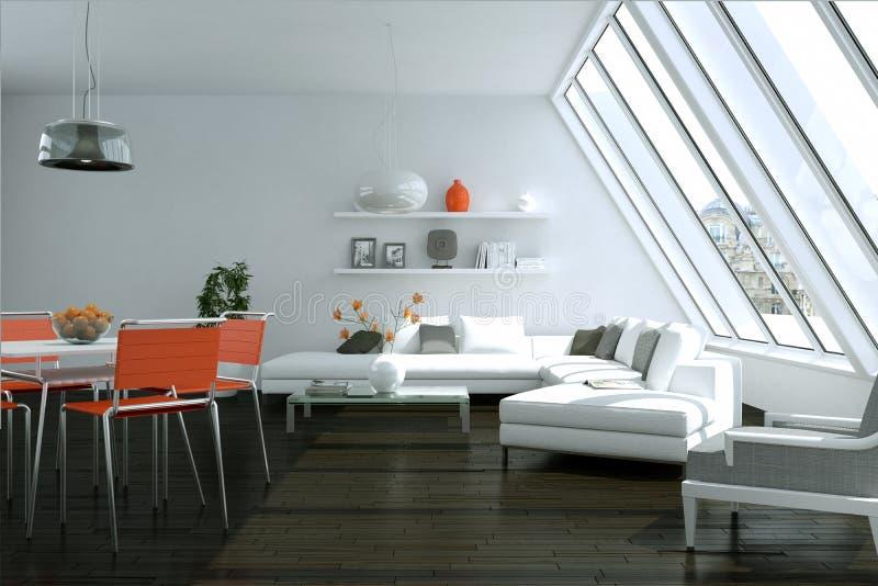 Modern bright skandinavian interior design with white sofa and orange chairs. 3d Illustration stock illustration