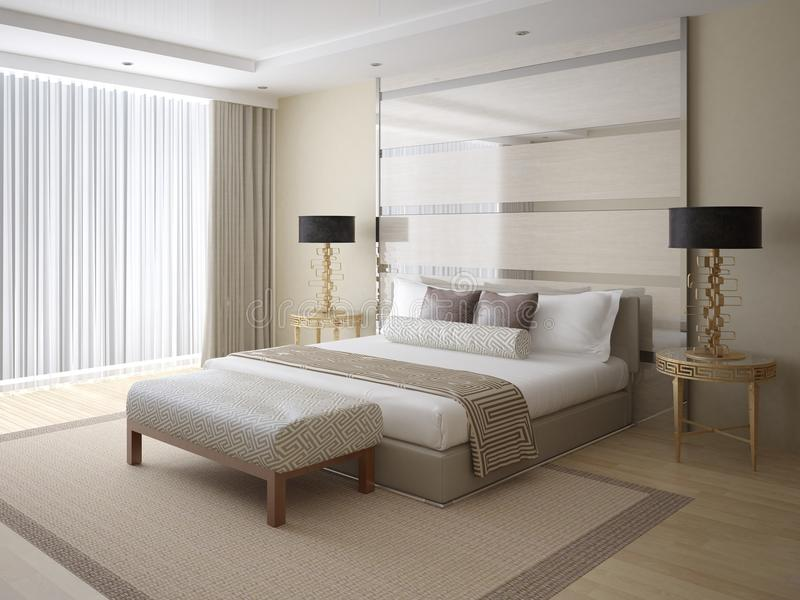 Modern bright and spacious bedroom. stock illustration