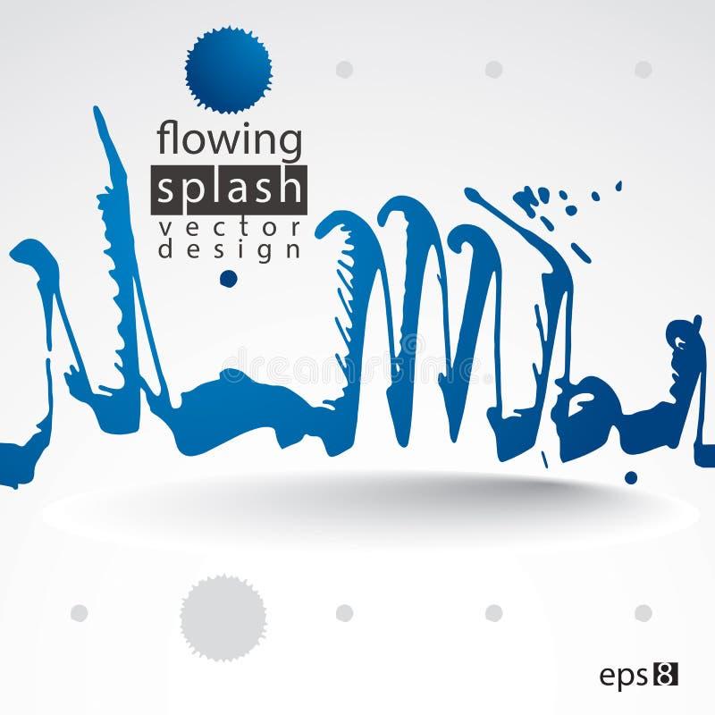 Modern bright vector inky wallpaper, eps8 blob painted with brush, muddled graffiti shape element, expressive untidy illustration. stock illustration