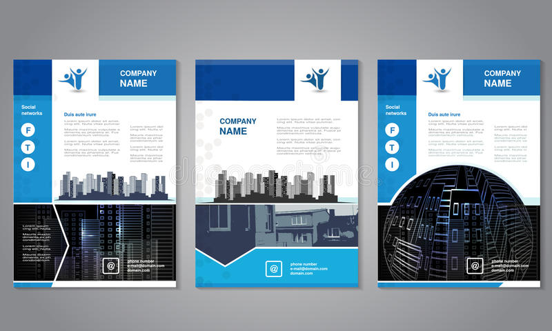 Modern brochure, abstract flyer with background of buildings. City scene. Layout template. Aspect Ratio for A4 size. Poster of blu. E, grey, black and white stock illustration