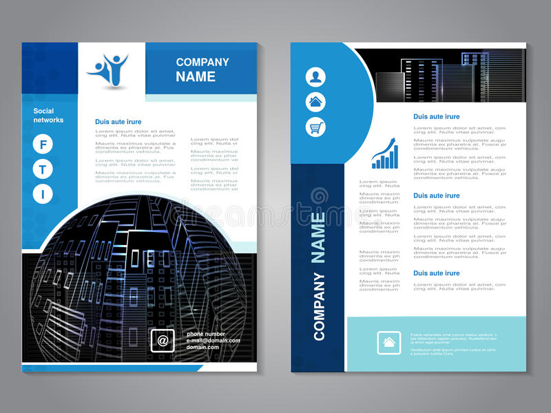 Modern brochure, abstract flyer with background of buildings. City scene. Layout template. Aspect Ratio for A4 size. Poster of blu. E, grey, black and white royalty free illustration